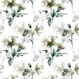 Seamless pattern with Original flowers. Watercolor illustration Stock Photo