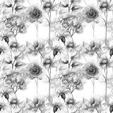 Seamless pattern with Original flowers. Watercolor illustration Stock Photography