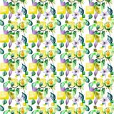 Seamless pattern with Original flowers. Watercolor illustration Royalty Free Stock Images
