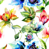 Seamless pattern with Original flowers Royalty Free Stock Photography