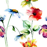 Seamless pattern with Original flowers Royalty Free Stock Images