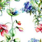 Seamless pattern with Original flowers Stock Photos