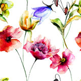 Seamless pattern with Original flowers Stock Image