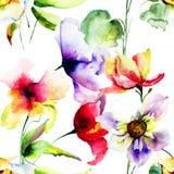 Seamless pattern with Original flowers Royalty Free Stock Photos