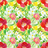 Seamless pattern with original flowers. Royalty Free Stock Photo