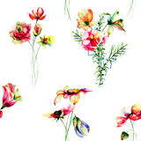 Seamless pattern with Original flowers Royalty Free Stock Photo