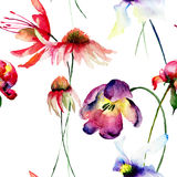 Seamless pattern with Original flowers Stock Photo