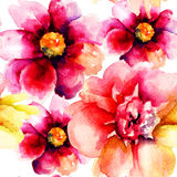 Seamless pattern with Original flowers Stock Photos