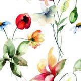Seamless pattern with Original flowers Stock Photo