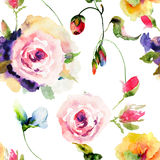 Seamless pattern with Original flowers Stock Photography