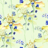Seamless pattern with Original flowers Royalty Free Stock Image