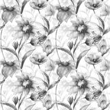 Seamless pattern with Original flowers. Watercolor illustration Stock Image