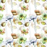 Seamless pattern with Original flowers. Watercolor illustration Royalty Free Stock Photos