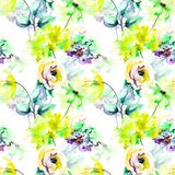 Seamless pattern with Original flowers Stock Images