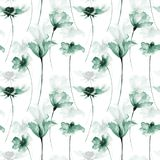 Seamless pattern with Original flowers. Watercolor illustration Stock Images