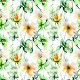 Seamless pattern with Original flowers Stock Image