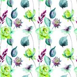 Seamless pattern with Original flowers. Watercolor illustration Royalty Free Stock Photography