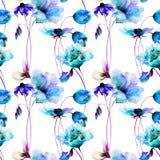 Seamless pattern with Original Summer flowers. Seamless pattern with Original flowers, watercolor illustration Stock Image