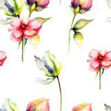 Seamless pattern with original Spring flowers Royalty Free Stock Image