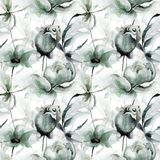 Seamless pattern with Original Summer flowers. Watercolor illustration Stock Photography