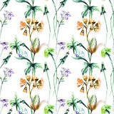 Seamless pattern with Original Summer flowers Stock Photography