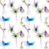 Seamless pattern with Original Summer flowers. Watercolor illustration Royalty Free Stock Images