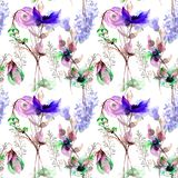 Seamless pattern with Original Summer flowers. Watercolor illustration Royalty Free Stock Photography