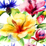 Seamless pattern with Original Summer flowers. Watercolor illustration Royalty Free Stock Photos