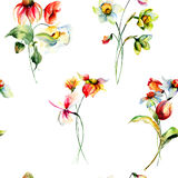 Seamless pattern with Original Summer flowers Royalty Free Stock Photography