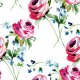 Seamless pattern with Original Summer flowers Stock Image
