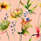 Seamless pattern with Original Summer flowers Royalty Free Stock Photo