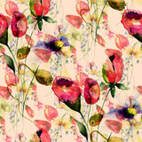 Seamless pattern with Original Summer flowers Royalty Free Stock Image