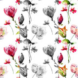 Seamless pattern with Original Summer flowers Stock Images