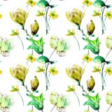 Seamless pattern with Original Summer flowers. Watercolor illustration, Tile for wallpaper or fabric Royalty Free Stock Photos