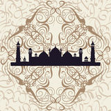 Seamless pattern ornament Arabic calligraphy of text Eid Mubarak and mosque. Concept for muslim community festival Eid Al Fitr(Eid Stock Images