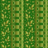 Seamless pattern with ornament, leaves and dots in golden gradient on green background