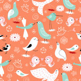 Seamless pattern of ornamental birds Stock Photo
