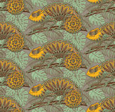 Seamless pattern with ornamental chameleons. Royalty Free Stock Images