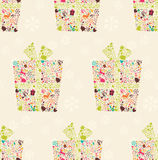 Seamless pattern with ornamental Christmas gift box Royalty Free Stock Photo