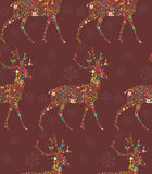 Seamless pattern with ornamental Christmas reindeer Royalty Free Stock Photos