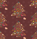 Seamless pattern with ornamental Christmas tree with reindeer Stock Images