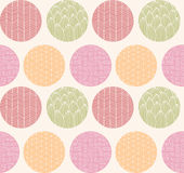 Seamless pattern with ornamental circles and line drawings Stock Photos