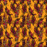 Seamless pattern with ornamental Feather, tribal design. Ink han Royalty Free Stock Photography