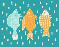 Seamless pattern of ornamental fish.Vector royalty free illustration