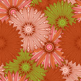 Seamless pattern with ornamental flowers in beautiful colors. Vector illustration Stock Images