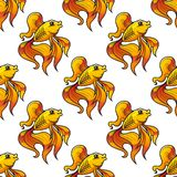 Seamless pattern of ornamental goldfish Royalty Free Stock Photography