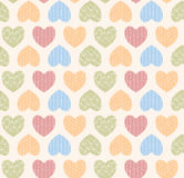 Seamless pattern with ornamental heart shaped symbols, line draw. Ings, vector illustration Royalty Free Stock Images