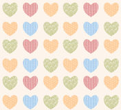 Seamless pattern with ornamental heart shaped symbols. Line drawings, vector illustration Royalty Free Stock Image