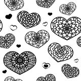 Seamless Pattern with Ornamental Hearts. St. Valentine`s Day or. Weddings Design Element. Black and White. Doodle Style. Vector background. Stock Vector Royalty Free Stock Image