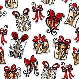 Seamless Pattern with Ornamental Holiday Gifts Royalty Free Stock Image